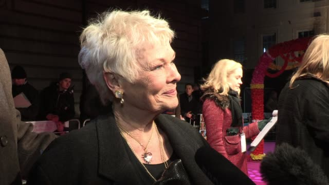 dame judi dench dismisses any bond related questions before explaining why she has no intention of retirement and states how lucky she is to do what... - judi dench stock videos & royalty-free footage