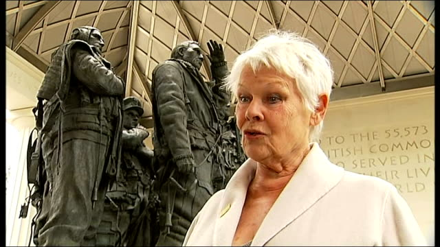 dame judi dench launches appeal for bomber command memorial upkeep fund; england: london: green park: ext dame judi dench interview sot - this statue... - ジュディ・デンチ点の映像素材/bロール