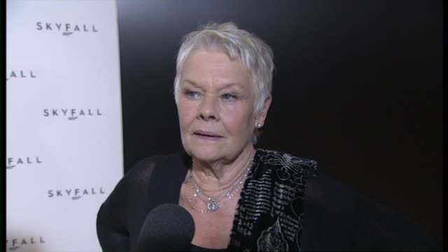 dame judi dench on being excited about the new film at the 23rd bond skyfall interviews on november 03 2011 in london england - skyfall stock videos and b-roll footage