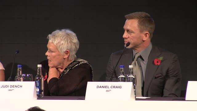 dame judi dench on her character m at the bond 23 launch press conference skyfall at london england - skyfall stock videos and b-roll footage
