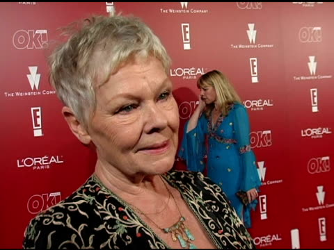 dame judi dench on her favorite personal performance and on loving her job at the 2006 weinstein company preoscar party at the pacific design center... - pre party stock videos and b-roll footage