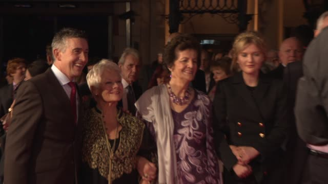 dame judi dench, steve coogan, stephen frears, jeff popes, philomena lee at 'philomena' red carpet at odeon leicester square on october 16, 2013 in... - steve coogan stock videos & royalty-free footage