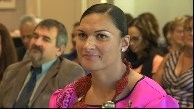 dame valerie adams receiving dame companion of new zealand order of merit investiture at government house for services to athletics - lanci e salti femminile video stock e b–roll