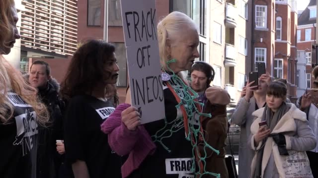 Dame Vivienne Westwood walks on a pop up runway in a protest outside the INEOS building in London Interview with her son Joe Corre