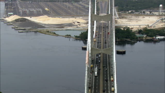 dames point bridge over st john's river  - aerial view - florida,  duval county,  united states - draughts stock videos & royalty-free footage