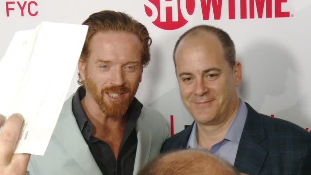 """damian lewis and david nevins at the for your consideration screening and panel for showtime's """"billions"""" - red carpet at the wga theater on april... - showtime video stock e b–roll"""