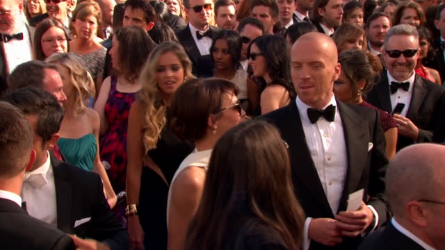damian lewis arrives at the 2013 emmy awards. - emmy awards stock videos & royalty-free footage