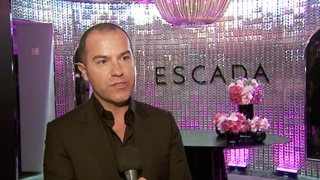 damiano biella on why tonight's event is exciting, on what this means for escada, on why the store is so unique, on favorite design elements, on the... - escada stock-videos und b-roll-filmmaterial