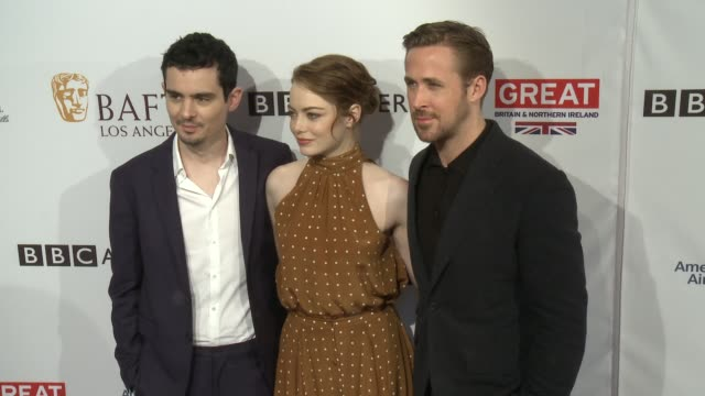 Damien Chazelle Emma Stone Ryan Gosling at 2017 BAFTA Los Angeles Awards Season Tea Party The Four Seasons Los Angeles at Beverly Hills in Los...