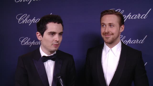 interview damien chazelle ryan gosling on receiving the vanguard award tonight on being part of the psiff on the challenges of making the film ryan... - ryan gosling stock videos and b-roll footage