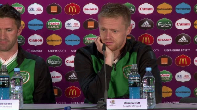 damien duff will captain ireland for the first time as he wins his 100th cap for the team in their final euro 2012 game against italy on monday.... - 2012 stock videos & royalty-free footage