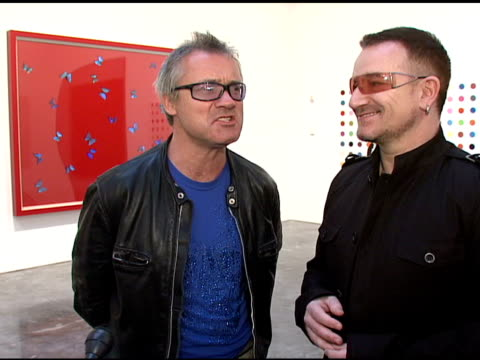 Damien Hirst and Bono on the idea of the Auction at the Bono and Damien Hirst Paint the Town Red For Aids In Africa The Auction at Sotheby's in New...