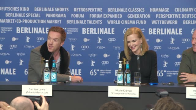 damien lewis on the kissing scene with nicole kidman at 'queen of the desert' press conference - 65th berlin film festival at grand hyatt hotel on... - 俳優 ダミアン・ルイス点の映像素材/bロール
