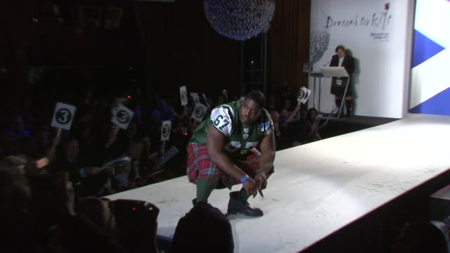 damien woody walks the runway at the 7th annual 'dressed to kilt' charity fashion show at new york ny - dressed to kilt stock videos & royalty-free footage