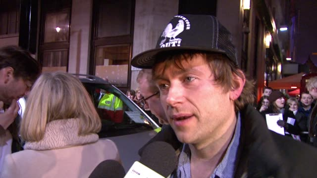 damon albarn about his reservations about getting involved in the film as they already had enough pressure in reforming for the gigs whether he was... - film premiere stock videos and b-roll footage