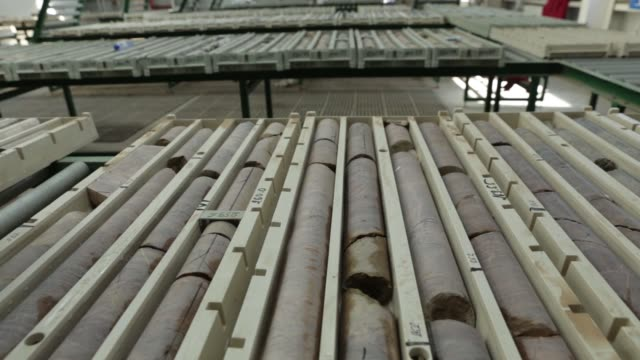Dampened core samples sit ready for study in the geology office at the Oyu Tolgoi copper gold mine jointly owned by Rio Tinto Group's Turquoise Hill...