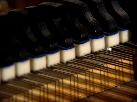 dampers rise and fall on strings in grand piano - piano stock videos and b-roll footage