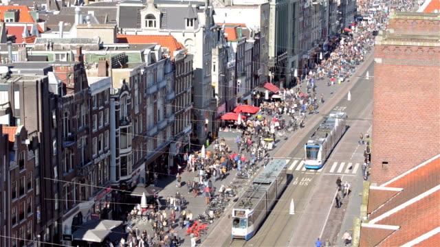 Damrak Amsterdam aerial view