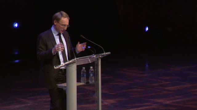 speech dan brown on livestreaming today's event back to his hometown book store in new hampshire at dan brown at lincoln center an evening of codes... - hometown stock videos and b-roll footage