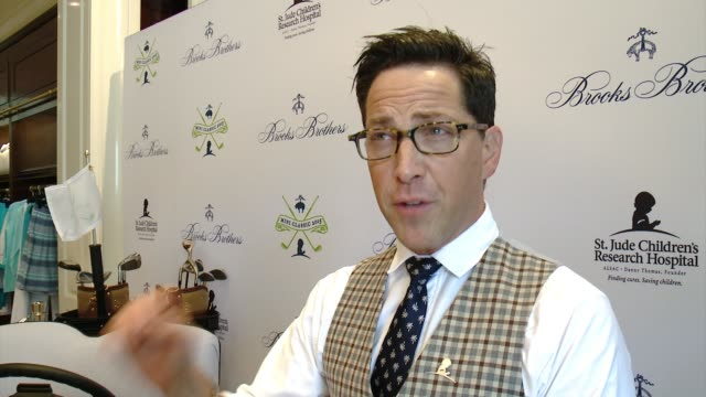 interview dan bucatinsky on why he wanted to support brooks brothers st judes at brooks brothers hosts mini classic golf tournament to benefit st... - st. jude children's research hospital stock videos and b-roll footage