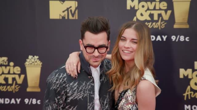 Dan Levy and Annie Murphy at 2018 MTV Movie TV Awards Arrivals at Barker Hangar on June 16 2018 in Santa Monica California