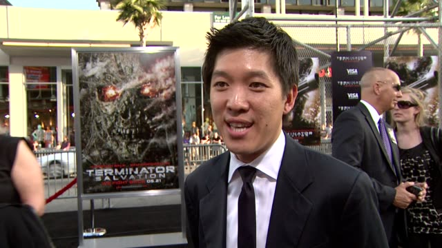dan lin, executive producer, on the event, the film, the terminator franchise, the techonology. at the 'terminator salvation' premiere at hollywood... - terminator stock videos & royalty-free footage