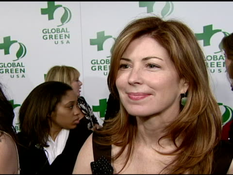 vídeos de stock, filmes e b-roll de dana delany on attending tonight's event and on supporting global green usa at the global green usa's 5th annual preoscar party at null in hollywood... - global green usa