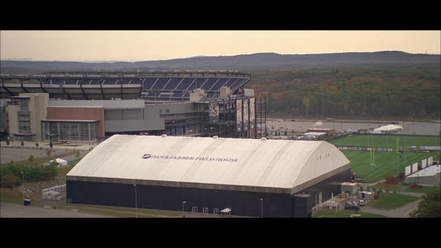 AERIAL Dana Farber Field House and Gillette Stadium / Boston, Massachusetts, United States