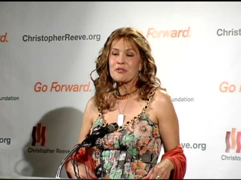 dana reeve on the public's support and feeling close to her husband's fight at the 'a magical evening' sponsored by the christopher reeve foundation... - christopher and dana reeve foundation stock videos and b-roll footage