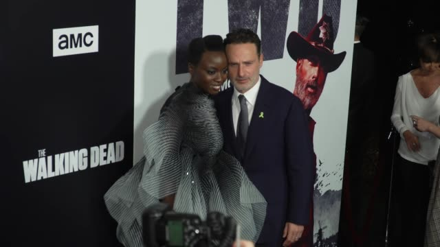 danai gurira and andrew lincoln at the the walking dead season 9 premiere at dga theater on september 27 2018 in los angeles california - danai gurira stock videos and b-roll footage