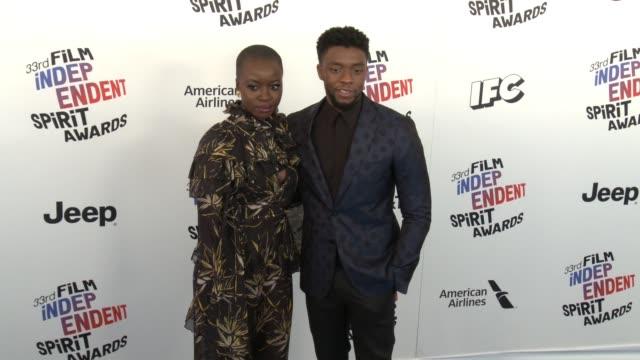 Danai Gurira and Chadwick Boseman at the 2018 Film Independent Spirit Awards on March 03 2018 in Santa Monica California