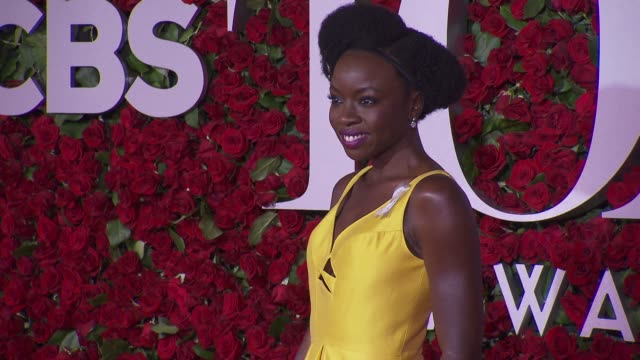 danai gurira at 2016 tony awards red carpet at the beacon theatre on june 12 2016 in new york city - 70th annual tony awards stock videos and b-roll footage