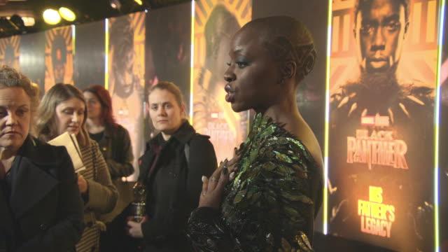 danai gurira at 'black panther' european premiere at eventim apollo on february 8 2018 in london england - danai gurira stock videos and b-roll footage