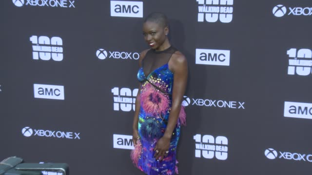 danai gurira at the amc's the walking dead 100th episode season 8 special premiere screening at the greek theatre on october 22 2017 in los angeles... - danai gurira stock videos and b-roll footage