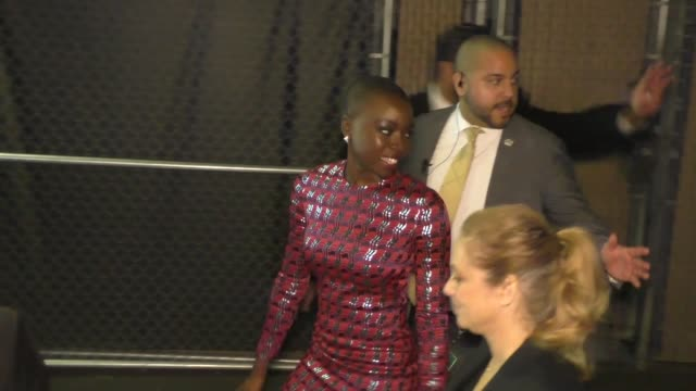 Danai Gurira greets fans outside Jimmy Kimmel Live at El Capitan Theater in Hollywood in Celebrity Sightings in Los Angeles