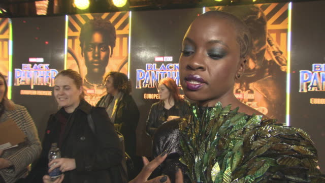 interview danai gurira on her character her heritage and what it means to her the damage of colonisation at 'black panther' european premiere at... - danai gurira stock videos and b-roll footage