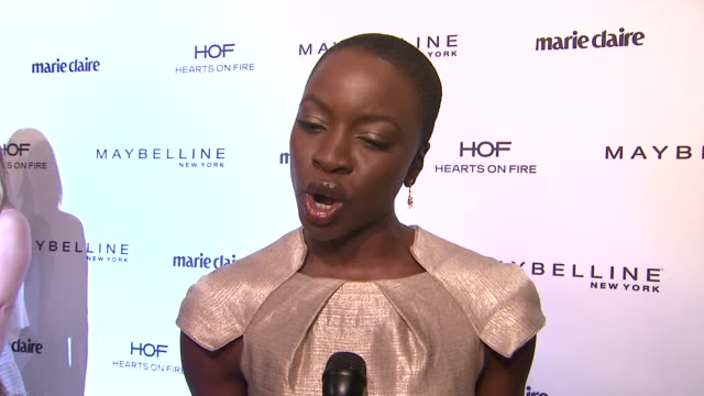 interview danai gurira on what beauty means to her her best beauty trick or secret her favorite fashion trend right now what she loves about marie... - danai gurira stock videos and b-roll footage