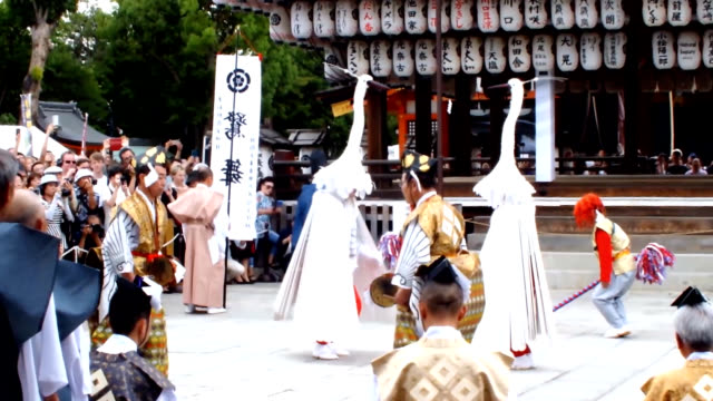 dance of white herons, discontinued in kyoto during the edo period but handed down in faraway shimane prefecture, was performed here to celebrate the... - shimane prefecture stock videos & royalty-free footage