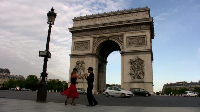 dance, paris! - arc de triomphe stock videos and b-roll footage