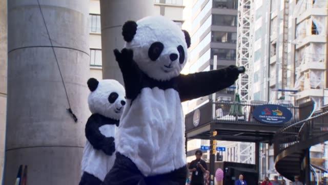 vídeos y material grabado en eventos de stock de dance performance by people wearing panda costumes during chinese new year celebrations in auckland - panda animal