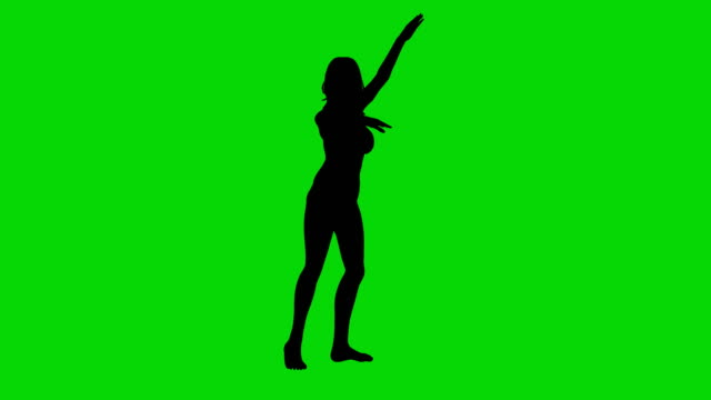 Dancer woman silhouette green screen animation