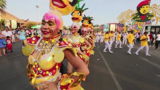 dancers and musicians take to the streets of managua during the celebrations of the 16th anniversary of the joy for life carnival - managua stock videos & royalty-free footage