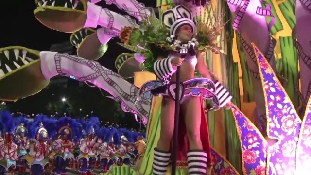 dancers from the paraiso do tuiuti school perform during the first night of the sambodromo parades in rio with the top ranking samba schools... - samba school stock videos and b-roll footage
