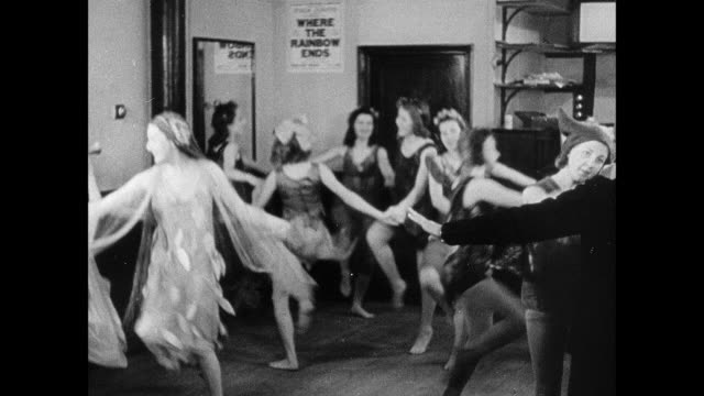 ha dancers in costume rehearsing in small theater for pantomime / england, united kingdom - pantomime stock videos and b-roll footage