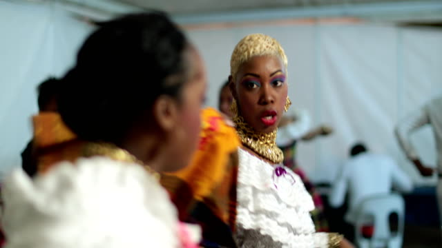 dancers of a caribbean dance ensemble behind the stage - tradition stock videos & royalty-free footage