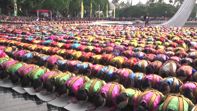 6600 dancers perform Saman Dance for a record attempt at Tama Mini Exhibition Center in Jakarta Indonesia on May 08 2016 Saman is one of the most...