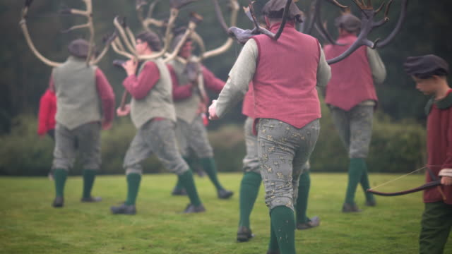 dancers perform the abbots bromley horn dance on september 9 2019 in abbots bromley united kingdom the dance comprising of six deermen a fool hobby... - antler stock videos & royalty-free footage