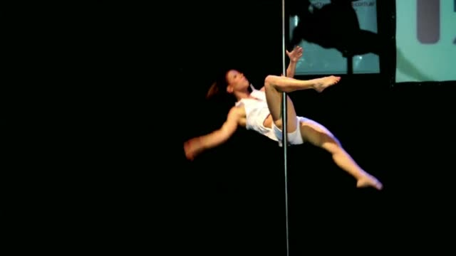 vídeos de stock, filmes e b-roll de dancers performed on saturday in the miss pole dance argentina 2011 and miss pole dance south america 2011 competitions in buenos aires ahead of the... - campeonato esportivo