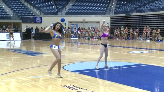 kswb dancers tryout to be charger girls on april 07 2013 in san diego california - チアリーダー点の映像素材/bロール