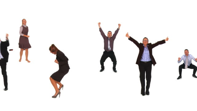 hd loop montage: dancing business people - white background stock videos & royalty-free footage